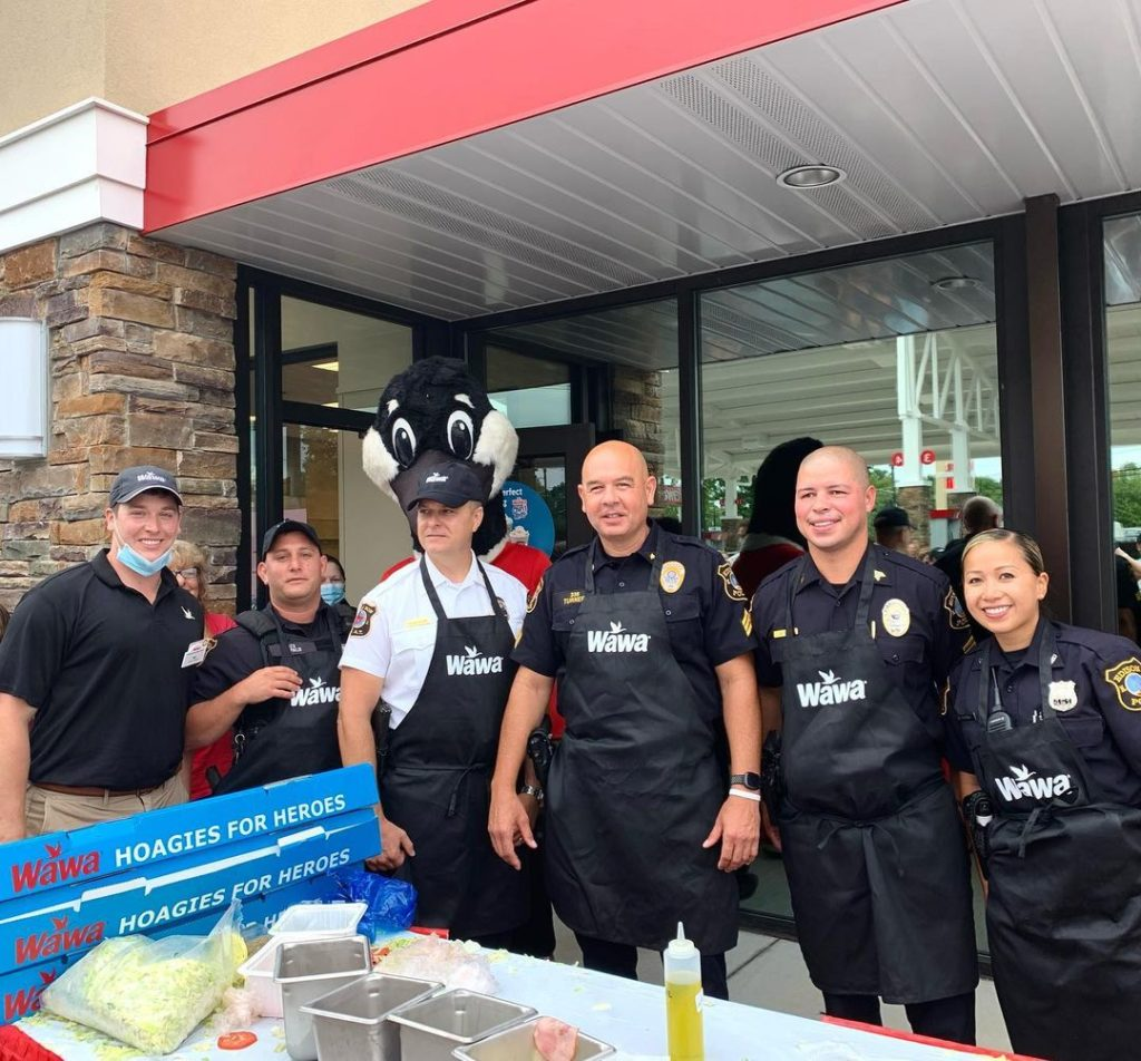 Hoagie building team. Deputy Chief Askelson, Sergeant Doug Turner, Sergeant Donald Ship, Officers Shirley Dong and Officer Chris Dipalo.